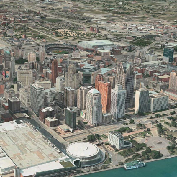 An arial view of Detroit, Michigan