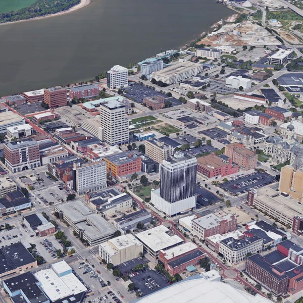 An arial view of Evansville, Indiana