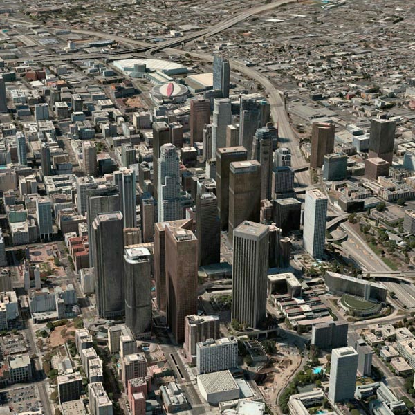An arial view of Los Angeles, California