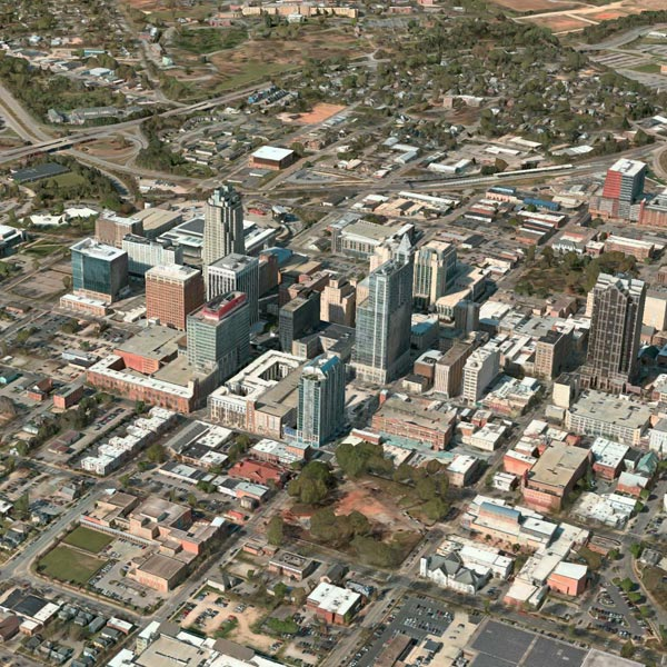 An arial view of Raleigh, North Carolina