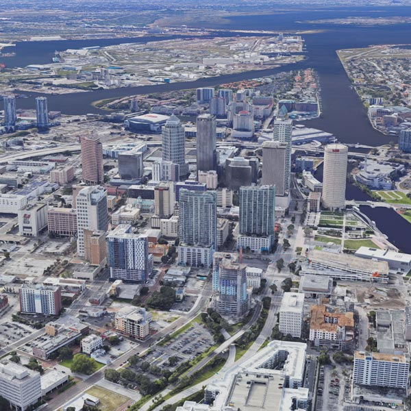 An arial view of Tampa, Florida