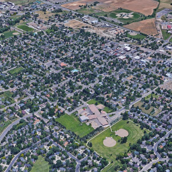 An arial view of Louisville, Colorado